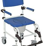 Drive Medical Aluminum Rehab Shower Commode Chair with Four Rear-locking Casters